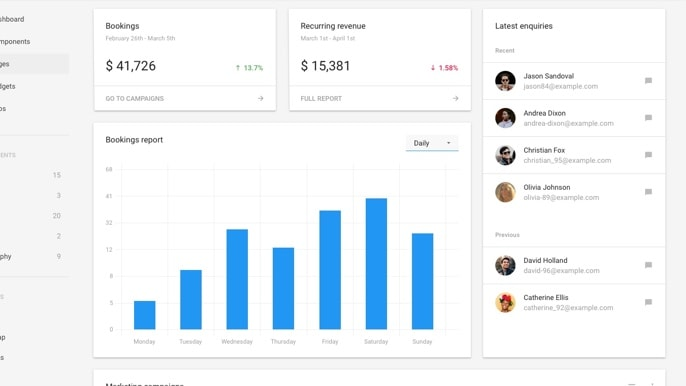 Matter's dashboard page